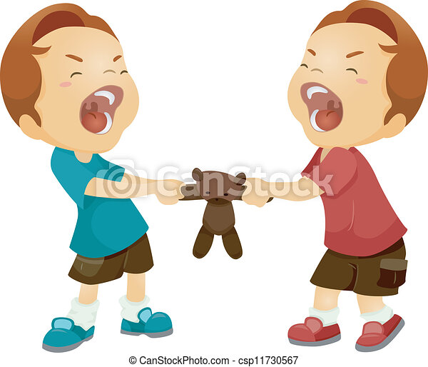 Clip Art Vector Of Sibling Rivalry Illustration Of Twin
