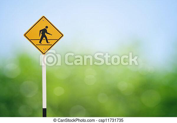 Yellow walk sign - csp11731735
