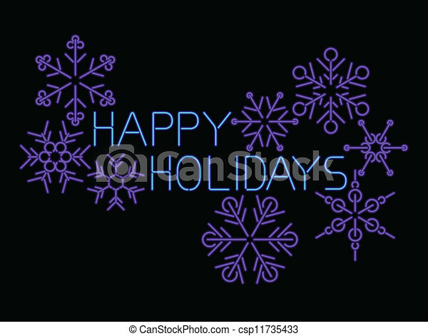 neon happy holidays  - csp11735433