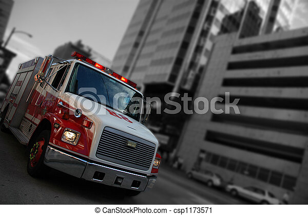 火, トラック, 緊急事態 - csp1173571