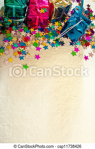 Christmas or birthday card with stars and gifts - csp11738426