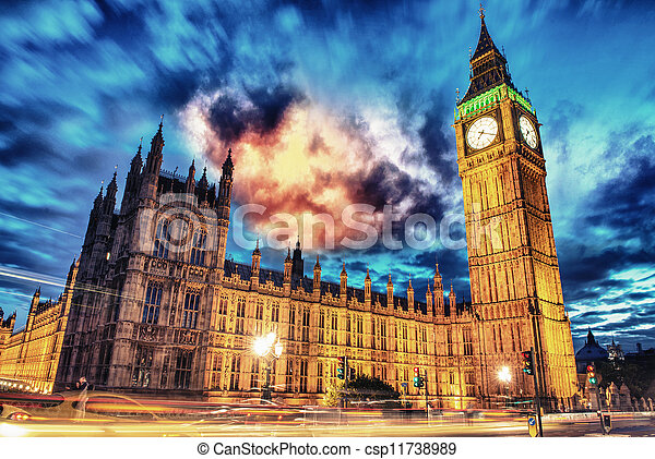 Big Ben and House of Parliament at dusk from Westminster Bridge - London - UK - csp11738989