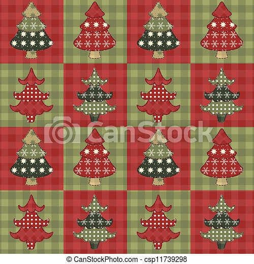 Christmas tree  seamless pattern 2 - csp11739298