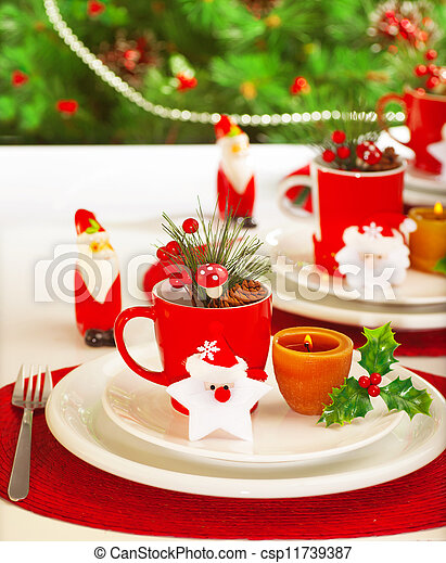 Winter holidays table setting - csp11739387