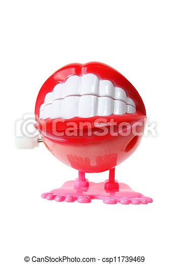 Stock Image of Chattering Teeth Toy on White Background ...