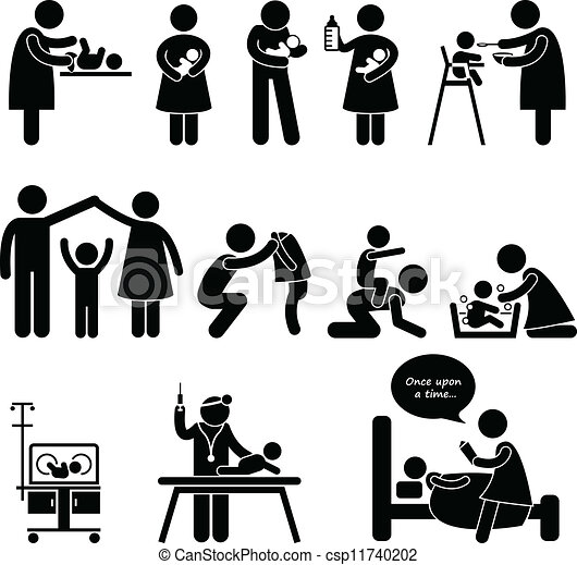 set of pictogram representing nanny, mother, father taking care of ...