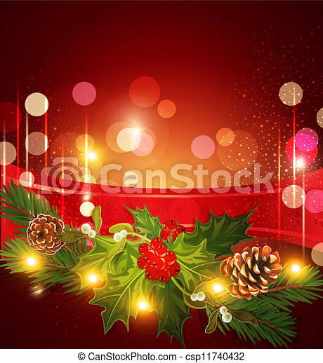 holiday Christmas background with red ribbon and Christma - csp11740432