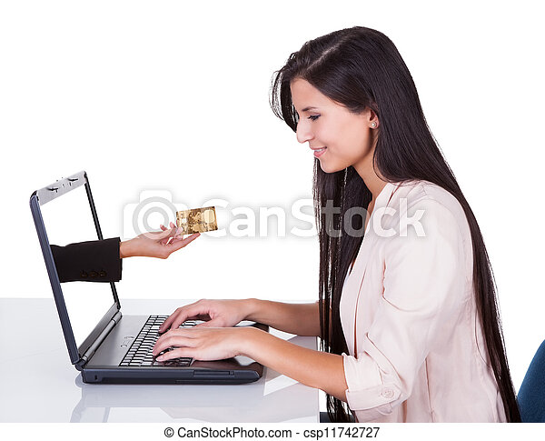 Woman doing online shopping or banking - csp11742727