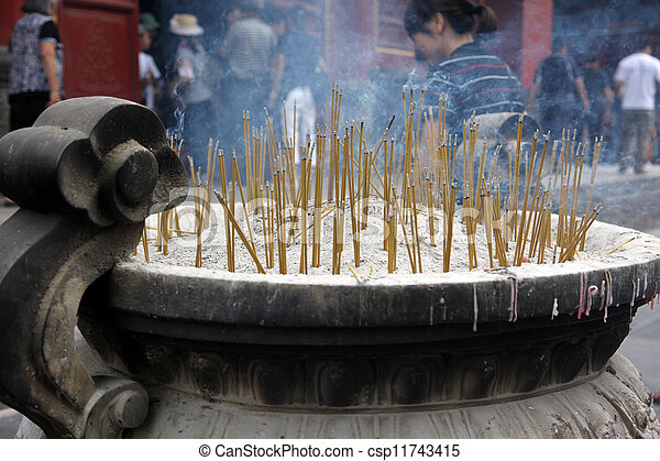 candles in  Buddhist religion temple  - csp11743415