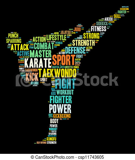 Martial arts info-text graphics and arrangement word clouds conc - csp11743605