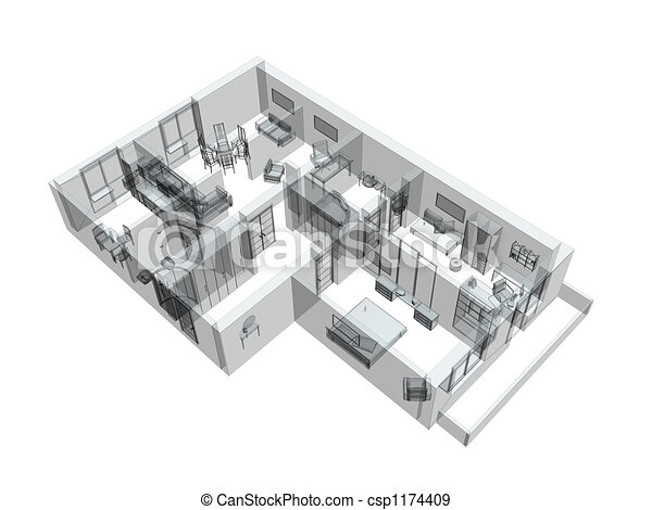 3d sketch of a four-room apartment - csp1174409