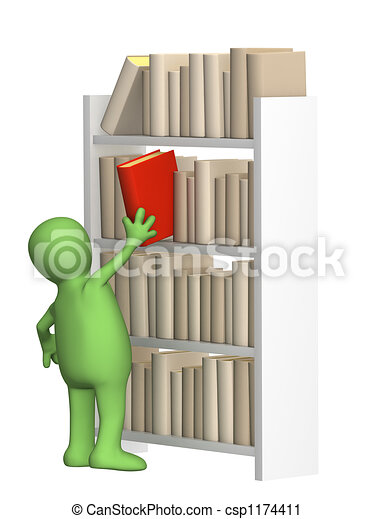 Puppet getting from a shelf the book - csp1174411