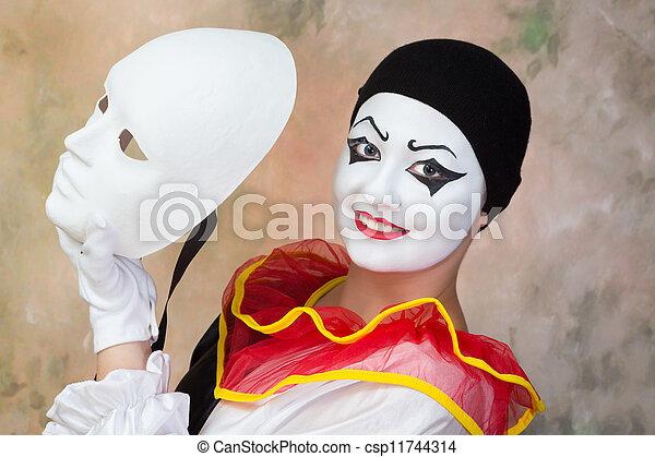 Feliz, rosto, máscara - csp11744314