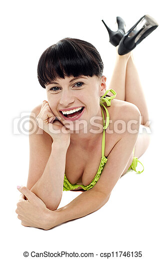 Portrait of smiling young woman in sexy lingerie - csp11746135