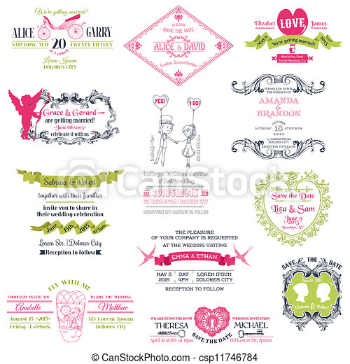 Wedding Vintage Invitation Collection - for design, scrapbook - in vector - csp11746784