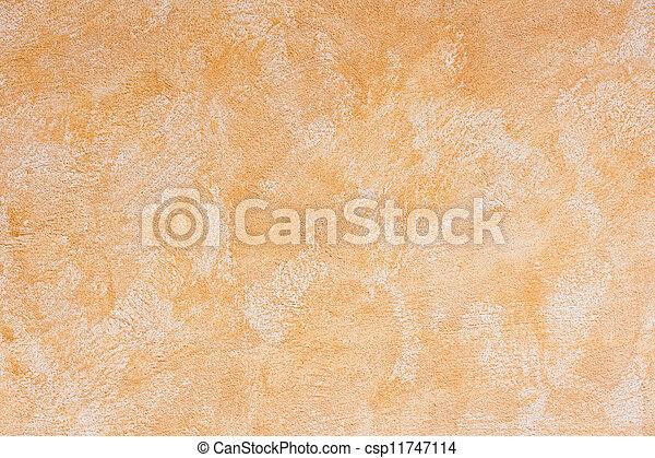 laranja, envelhecido, concreto, parede - csp11747114