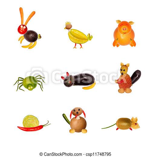 Stock illustration verschieden tiere von fruechte und gemuese