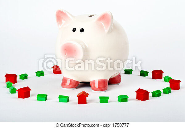 Piggy Bank Saving for a Home - csp11750777