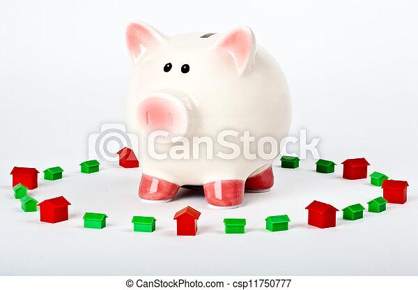 Piggy Bank Saving for a Home - csp11750777