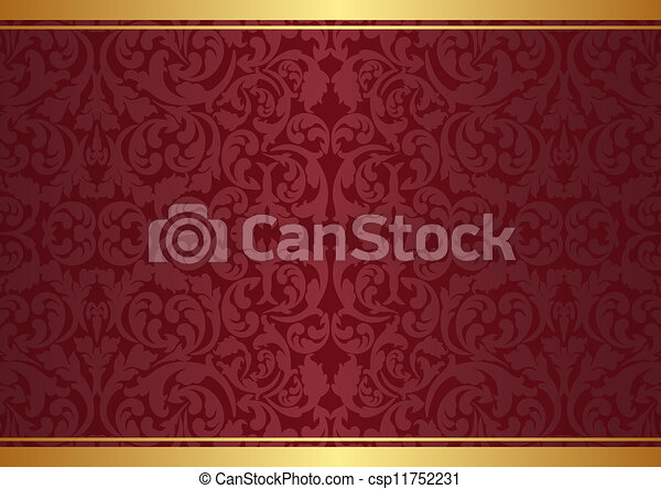 Vectors of background with ornaments - maroon and gold background with... csp11752231 - Search ...