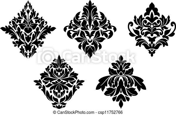Set of vintage floral patterns and embellishments - csp11752766