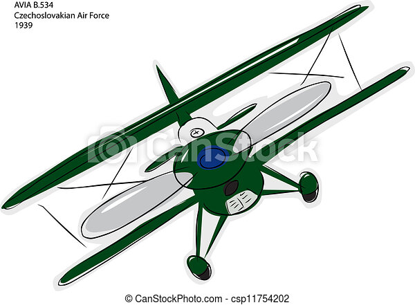 Vector Clipart of Avia B.534 Biplane Sketch - Sketch of Avia B.534 ...