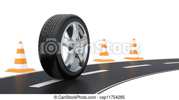 automobile tire, road cone, and long road - csp11754285