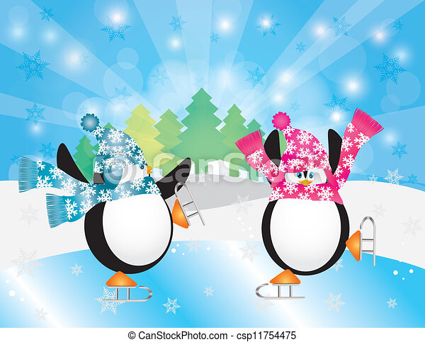 vectors illustration of penguins pair ice skating in winter scene illustration csp11754475 Ice Skating Penquin Penguins Skating Clip Art