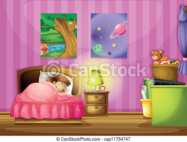 Vector   a girl and a bedroom. EPS Vector of a girl and a bedroom   illustration of a girl and a