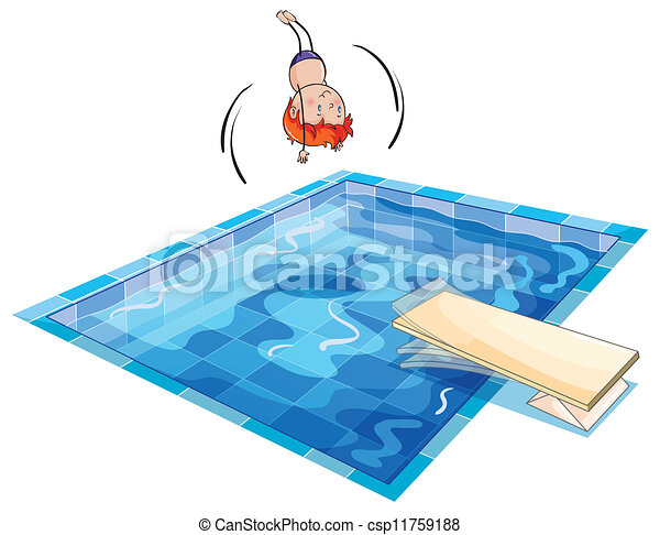 Vector of a boy and swimming pool illustration of a boy for Swimming pool drawing