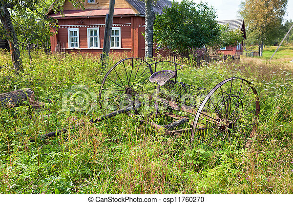 Rake hay in agriculture obsolete model - csp11760270