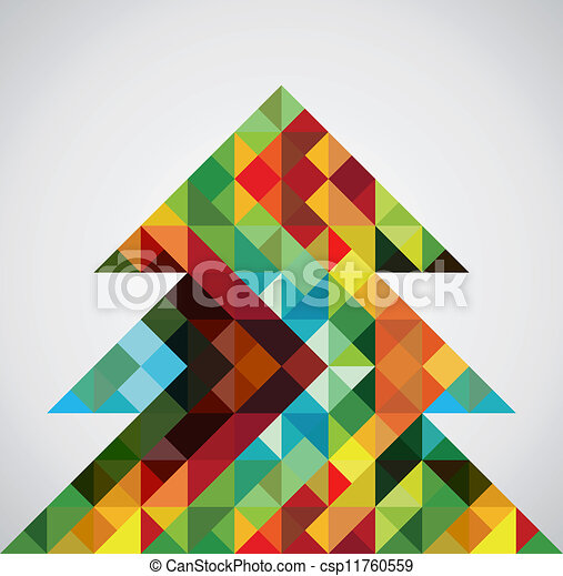 Retro mosaic Christmas tree - csp11760559