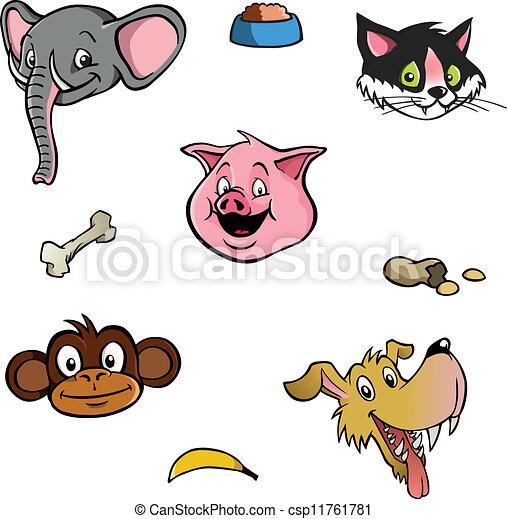 Animal heads wallpaper background - csp11761781