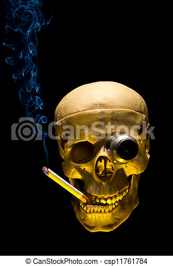 Human skull with monocle smoking cigarette on dark background - csp11761784