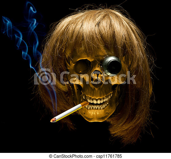 Human skull in wig and with monocle smoking cigarette - csp11761785
