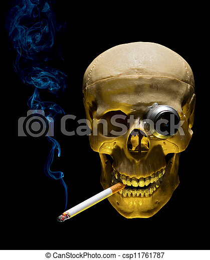 Human skull with monocle smoking cigarette on dark background - csp11761787
