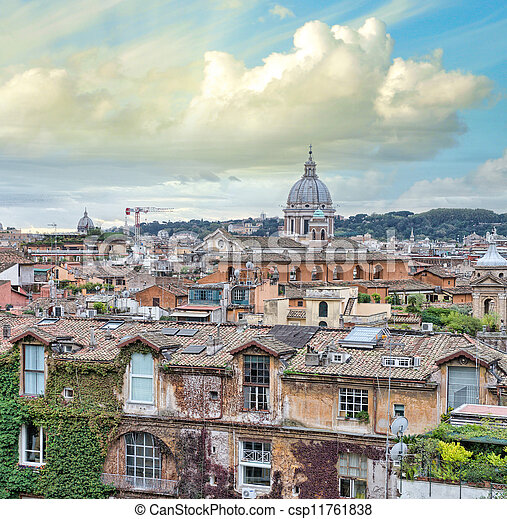 Beautiful panorama of Rome Homes and Landmarks - csp11761838