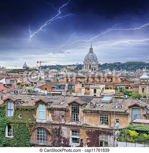 Beautiful panorama of Rome Homes and Landmarks - csp11761839