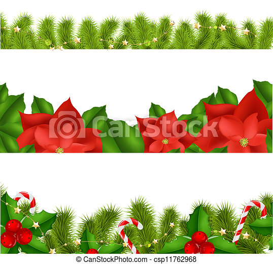 Borders Fir-tree Branches With Holly Berry - csp11762968