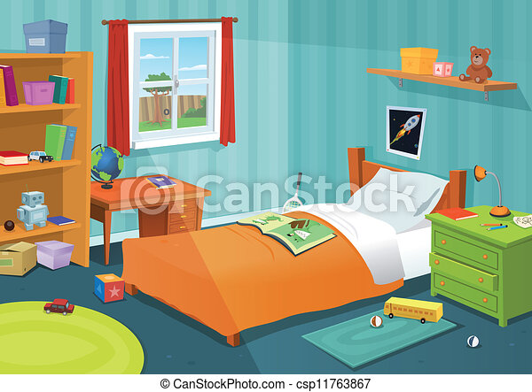 Clip Art Vector Of Some Kid Bedroom Illustration Of A