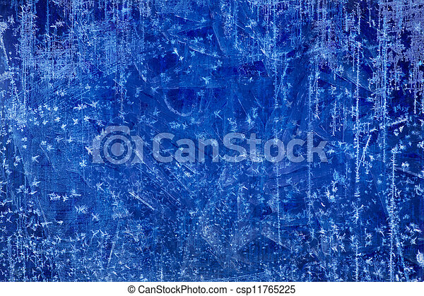 Art Christmas blue Ice texture Winter background - csp11765225