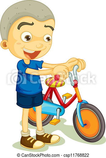 a boy playing bicycle - csp11768822