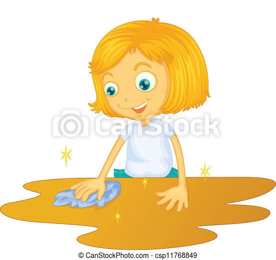 Vector - a girl cleaning floor  Table Cleaner Clip Art
