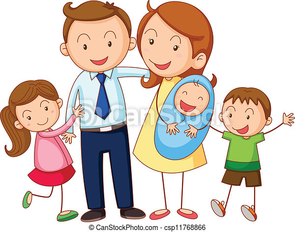 Vector Clipart of Extended Family - Portrait of six people ...