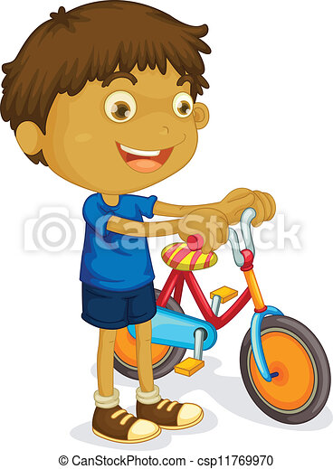 a boy playing bicycle - csp11769970