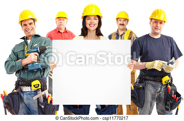 Contractor woman and group of industrial workers. - csp11770217