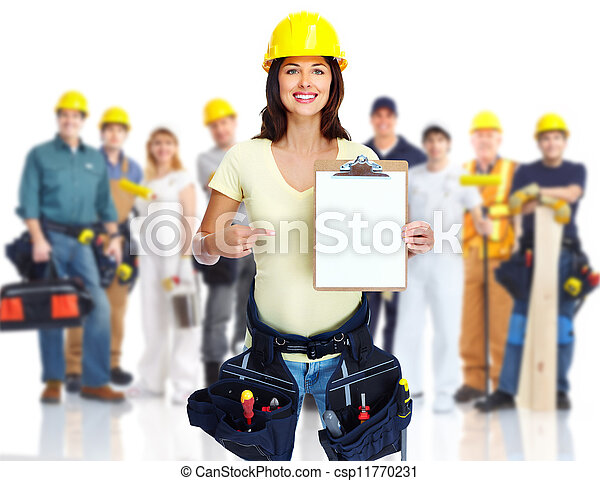 Contractor woman and group of industrial workers. - csp11770231