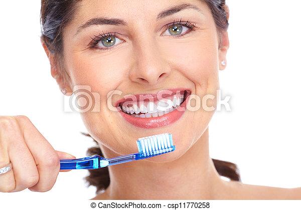 fogkefe, Fogászati, nő, törődik, boldog - csp11770258
