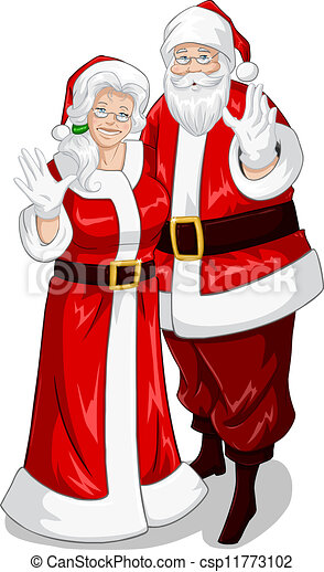 vector clipart of santa and mrs claus waving hands for cute santa clipart black and white cute santa clip art black and white