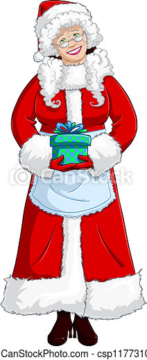 Vector Clipart of Mrs Santa Claus Holding A Present For Christmas ...